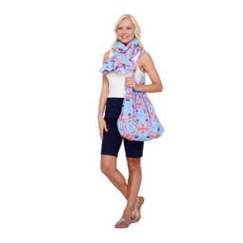 Susan Graver Printed Cotton Lawn Shoulder Bag & Pareo