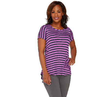 """As Is"" LOGO by Lori Goldstein Short Sleeve Stripe Top with Back Pleat"