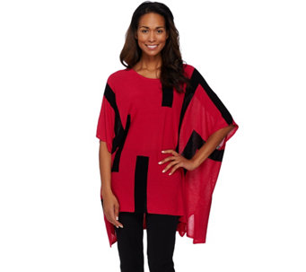 Attitudes by Renee Color-Block Sweater Knit Poncho - A273531