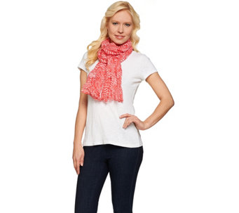 "Denim & Co. Stripe Paisley Print Scarf 28"" x 72"" - A274531"
