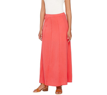 """As Is"" Susan Graver Weekend Cotton Modal Gored Maxi Skirt"