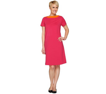 Susan Graver Weekend French Terry Color-Block Dress w/Button - A275231