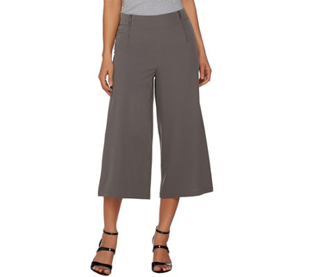 Lisa Rinna Collection Gaucho Pants with Zipper Detail