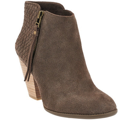 """As Is"" Sole Society Suede Woven Detail Ankle Boots - Zada"
