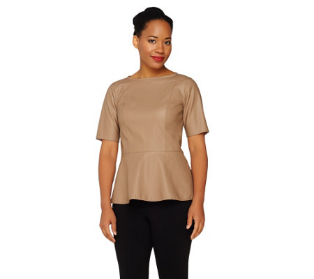 """As Is"" Dennis Basso Short Sleeve Faux Leather Peplum Top"