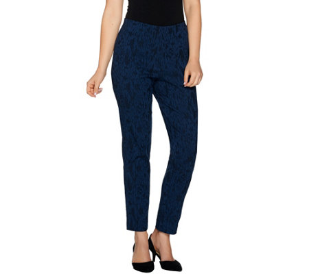 Dennis Basso Printed Jacquard Tapered Leg Ankle Pants
