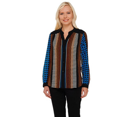 """As Is"" Bob Mackie's Printed Long Sleeve Button Front Top"