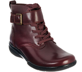 """As Is"" Clarks Leather Lace-up Ankle Boots w/ Buckle Detail - Kearns Admire - A281031"
