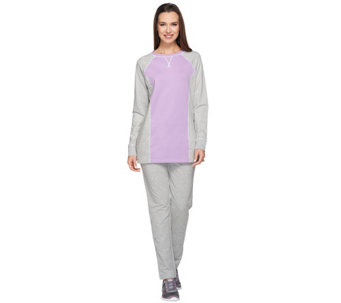 """As Is"" Denim & Co. Active Petite Color- Block Tunic and Pant Set - A281431"