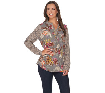 Studio by Denim & Co. Mixed Floral Printed Long Sleeve Blouse - A282431