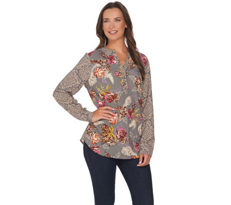 Studio by Denim & Co. Mixed Floral Printed Long Sleeve Blouse