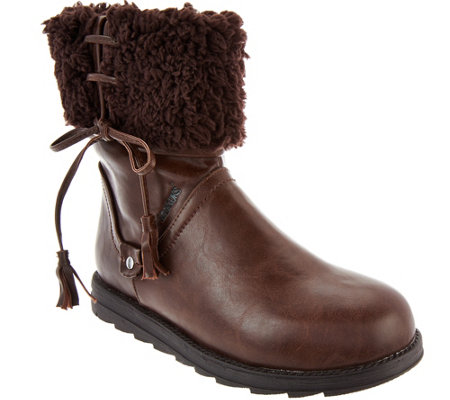 MUK LUKS Shirley Faux Leather Foldover Sherpa Boot