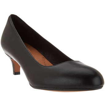 Clarks Artisan Leather Kitten Heel Pumps - Heavenly Shine - A284731
