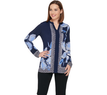 Susan Graver Printed Liquid Knit Long Sleeve Tunic - A285431