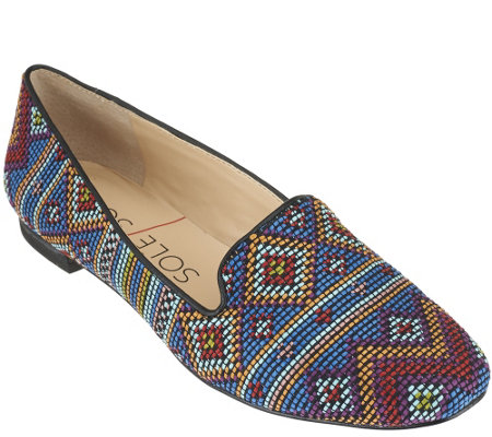 """As Is"" Sole Society Printed Slip-on Loafers -Miia"