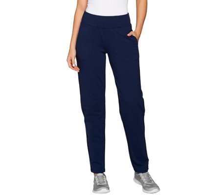"""As Is"" Denim & Co. Active Petite French Terry Controur Waistband Pants"
