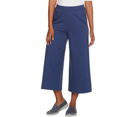 """As Is"" Denim & Co. Active Culotte Pants with Forward Seaming Detail"