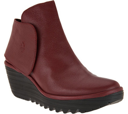FLY London Leather Wedge Boots - Yogi