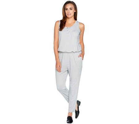 LOGO by Lori Goldstein Micro Stripe Jumpsuit with Henley Detail