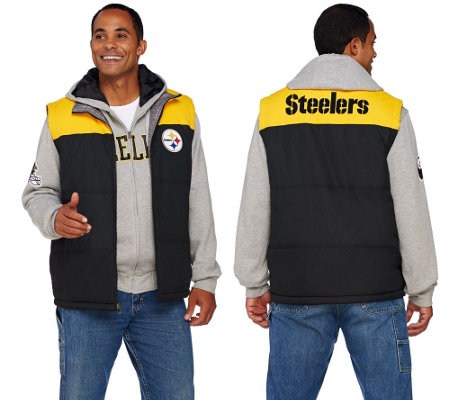 """As Is"" NFL 5-IN-1 Reversible Vest and Hoodie Combo"