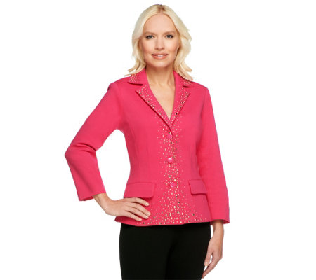 """As Is"" Joan Rivers Embellished Ponte Knit Jacket"