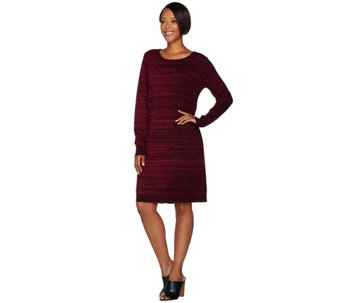 """As Is"" H by Halston Double Knit Jacquard Sweater Dress - A292231"
