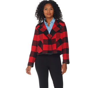 """As Is"" Studio by Denim & Co. Buffalo Plaid Printed Drape Front Jacket - A293431"
