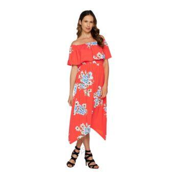 Du Jour Off the Shoulder Floral Printed Knit Dress