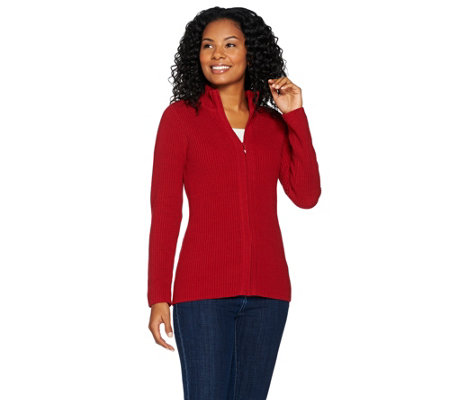 """As Is"" Susan Graver Zip Front Long Sleeve Sweater"