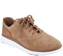 Vionic Orthotic Suede Lace-up Casual Sneakers - Taylor - A294431