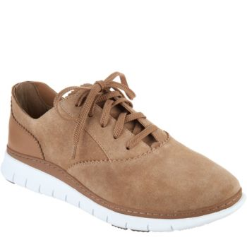 Vionic Orthotic Suede Lace-up Casual Sneakers - Taylor