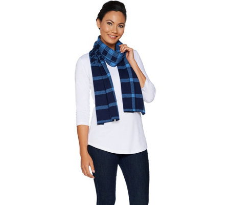 Isaac Mizrahi Live! Mixed Plaid Jacquard Knit Scarf