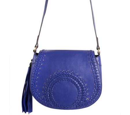 """As Is"" orYANY Pebbled Leather Saddle Bag w/ Whipstich Detail - Nikita"