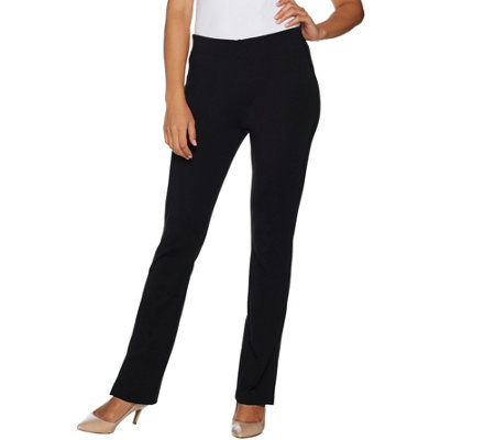 Kelly by Clinton Kelly Petite Ponte Bootcut Pants w/ Hem Detail
