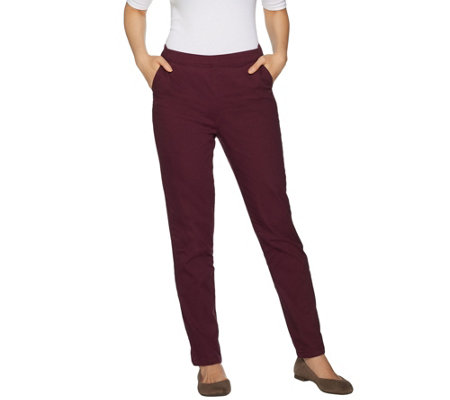 Denim & Co. Petite Twill Modern Pull-on Straight Leg Pants