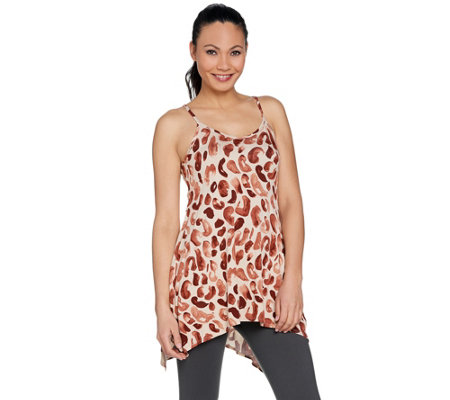 """As Is"" LOGO Layers by Lori Goldstein Print Camisole w/ Hi-Low Hem"