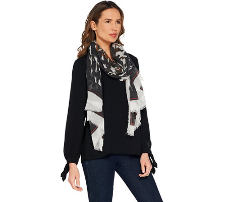 BROOKE SHIELDS Timeless Animal with Border Print Scarf