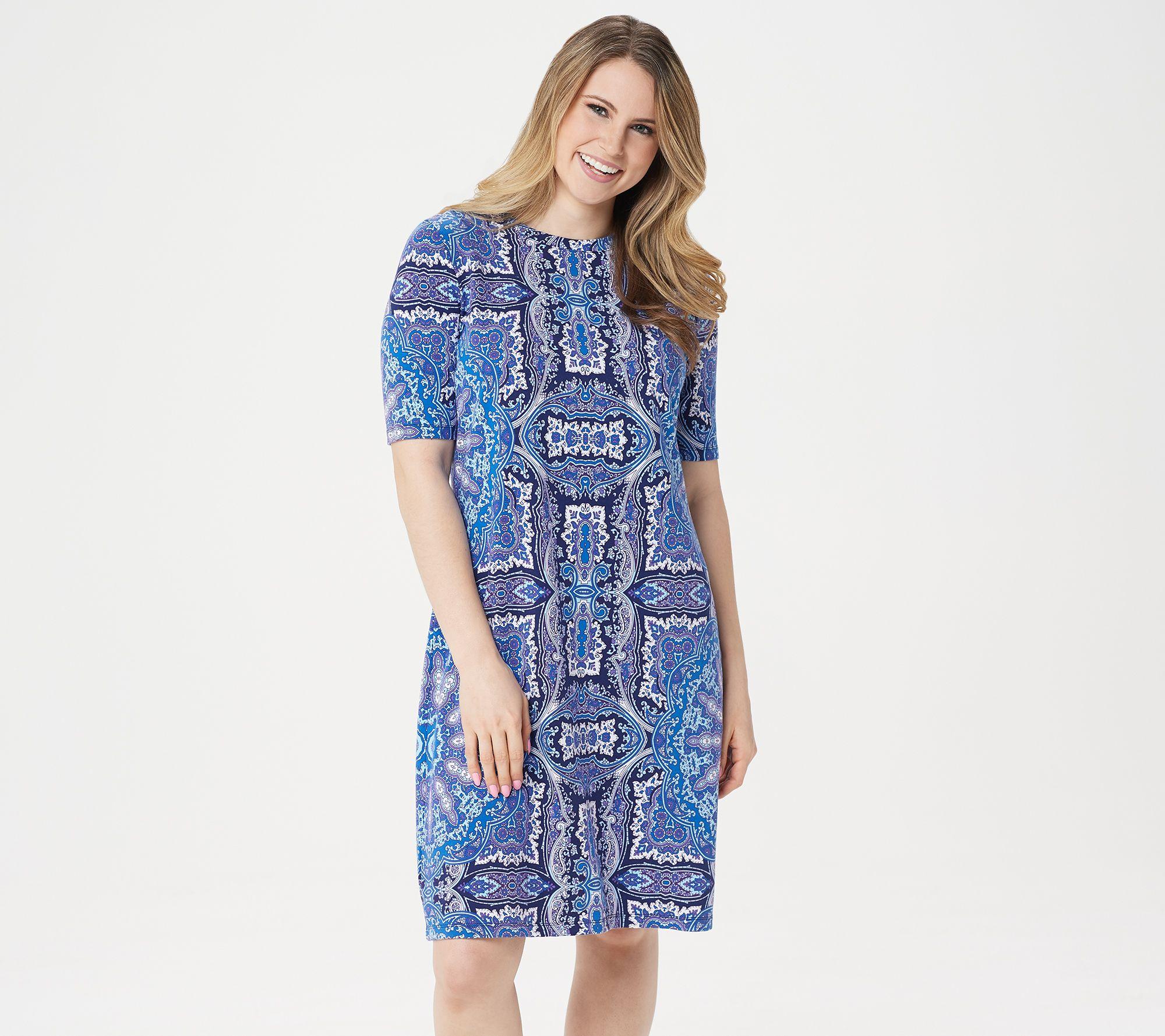 Isaac Mizrahi Live! Choice of Print Elbow Sleeve T-Shirt Dress - A307531