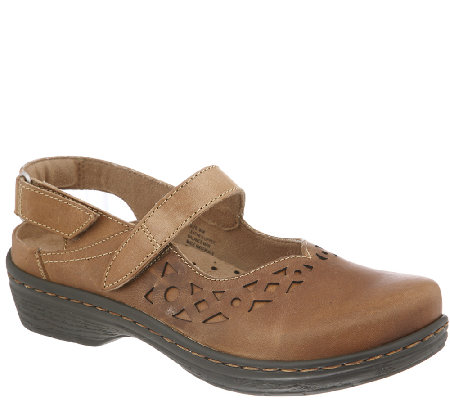 Klogs Leather Mary Jane Clogs with Back Strap -Forest