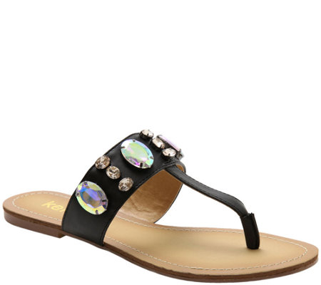 Kensie Leather Embellished Thong Sandals - Tatianly