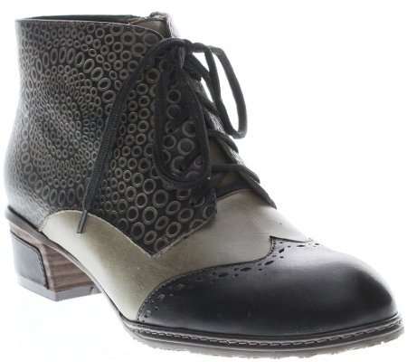 Spring Step Leather Lace-up Ankle Boots - Granola