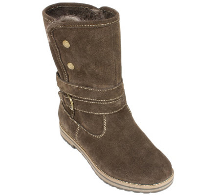 White Mountain Suede Leather Winter Boots - Powder
