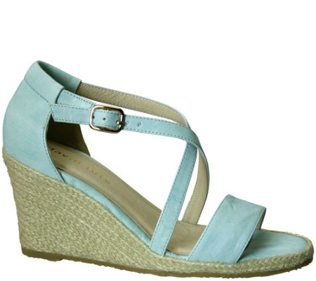 David Tate Leather Wedge Sandals - Salma
