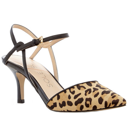 Sole Society Pointed Mid Heel Pumps - Rima Leopard