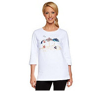 Quacker Factory Embellished Summertime 3/4 Sleeve T-shirt - A50731