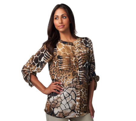 Susan Graver Georgette Animal Print Button Front Blouse