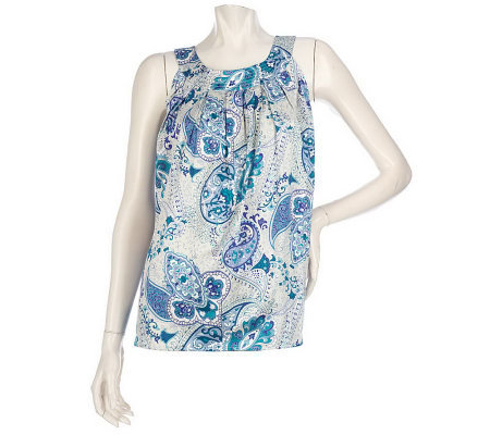 Dialogue Printed Sleeveless Shell with TopstitchDetail