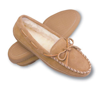 Minnetonka Pile Lined Hardsole Women's Suede Slippers with Ti - A141132