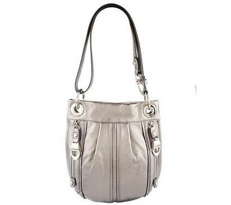 B. Makowsky Pebble Leather Convertible Crossbody Bag w/ZipperPockets