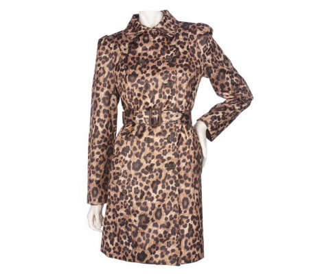 K-DASH by Kardashian Animal Print Double Breasted Trench Coat